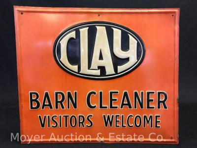 "Clay Barn Cleaner Tin Sign, an old original, 15""x17""wide"