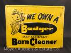 "Badger Barn Cleaner Tin Sign, an old original, 15""x 20""wide"