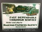 "Railway Express Agency Pressed Tin Sign, 10""x14"", reproduction, like-new"