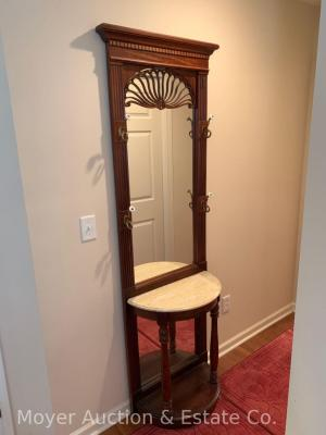 "Entry Hall Mirror / console with marble-like top, dark pine, nice condition, 24""wide x 80""tall"