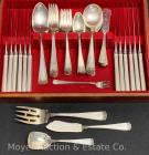 Set of Gorham 'Etruscan' sterling silver flatware, 'H' monogram, excellent condition, 74.47tr.oz. t.w. + 12 sterling handled knives