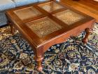 "Drexel Heritage Cherry Coffee Table with beveled glass insets, 20""tall, 42"" x 42"", excellent condition"