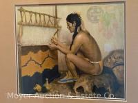 "E.I. Couse framed print ""The Pueblo Weaver"" for Sante Fe Railroad, overall size: 20"" x 22"""
