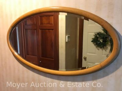 "Maple Oval Wall Mirror, antique, 38""long"