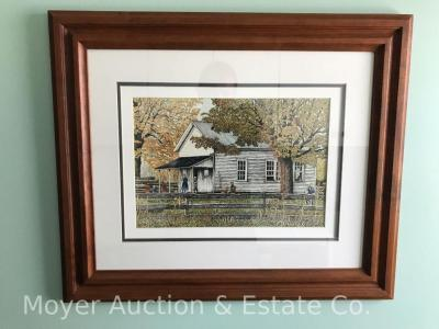 "Thelma Winter ""Little White School House"" (near Leon NY) Print, 1988, #18 of 500, Amish scene, overall size: 20"" x 24"", walnut frame"