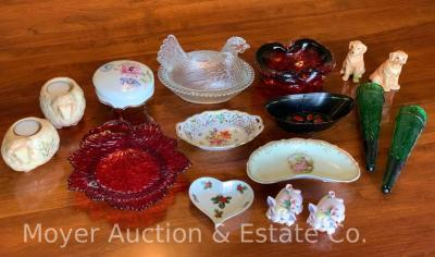 Group of decorative glass & china incl. hen on nest, Fenton red leaf plate, artglass ashtray, Limoge dresser jar, Dresden pierced dish, & s&p shakers