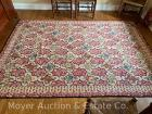 Floral Area Rug, hooked-style, 6ft. 6in. x 9ft. 6in., clean & good cond. with edge binding separating at end