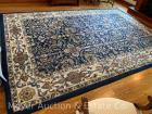 Blue Area Rug, handmade in India, Venetian pattern, 9ft. x 13ft., probably wool, very nice cond.