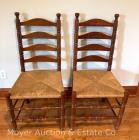 Pair of Cherry ladder-back dining chairs, rush seats, both very nice cond., similar to chairs with table