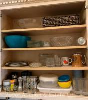 Contents of kitchen cupboards incl. utensils, pots, blender, hot plates, Teavana cast tea pot, some food, etc.