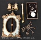 Group of Antique Mother-of-Pearl Opera Glasses, Mirror Frame, Keys, & Pocket Watch