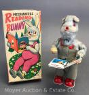 "Mechanical Reading Bunndy Wind Up Toy - ALPS Japan - With Original Box 7"" Tall"