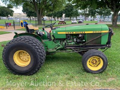 John Deere 2040 diesel tractor with snow blade, turf tires & chains, 3pt. hitch, good running cond., see all 50+ photos