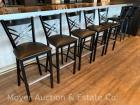 7 Bar Stools, black metal, X-style back; bid is per stool x7 (very similar to the other 4 stools with slight variation)