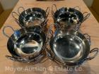 "Group of 17 7""wide Stainless Steel Bowls with loop handles, matching"