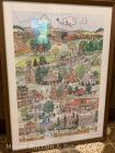 """Lancaster Potpourri"" print by Beth Kroecker, 1983 Lancaster NY; framed under glass, overall size: 26"" x 19"""