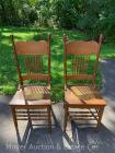 2 oak pressed-back chairs with caned seats, spindles, both good condition