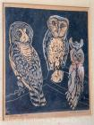 "Fannie Mennen (1903-1995) woodblock print ""Three Owls"", 13"" x 10"" image, artist signed & titled, framed, overall: 21"" x 18"" (glass needs clng.)"