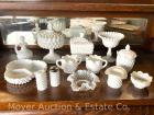 Group of Milk Glass: 2 candy dishes, candy compote, cream & sugar, divided dish, s&p, hat, etc.; 13pcs.