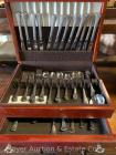 "Set of ""Distinction Deluxe by Onieda"" stainless steel flatware in wooden chest, 107pcs., like-new condition -see description for count/breakdown"