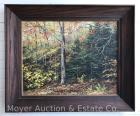 "Ann Klaus (1933-1991) Oil Painting ""Autumn Wood"", dated 1978, on artist board, framed, 19"" x 22"", North Collins NY artist/sister of Thelma Winter"