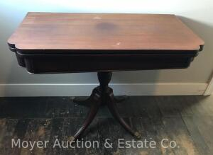 "Mahogany Game Table with flip & swivel top, 38""wide, (slight bow in top board)"