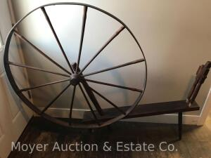"Large Antique Spinning Wheel, 46""wide round wheel"