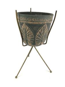 "Pottery Planter on metal 3-leg stand, 17""tall overall, pot 7""high x 8""wide"