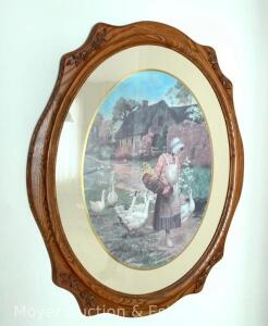 "Goose Girl Print in oval oak frame, 36""high"