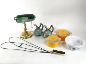 Group of Pyrex Bowls, 2 Gonder Pottery Pitchers, Brass 'Bankers' Lamp, & Rug Beater