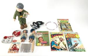 Group Toys incl. Beatle Bailey Doll, Comic Books and Toys