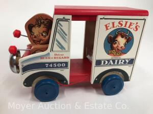 "2000 Fisher-Price Classic ""Elsie's Dairy Truck"" pull toy, No. 74500, limited edition, with box"