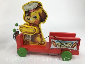 "2001 Fisher-Price Classic ""Hot Dog Wagon"" pull toy, No. 75001; limited edition, with box"