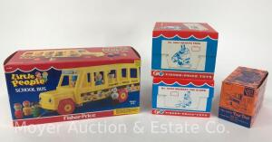 "Group of 4 Fisher-Price Toys: 1985 ""Little People School Bus"", 1989 Classic ""Toot Toot, 1994 ""Gran'Pa Frog"", & 1995 ""Squeaky the Clown""; all w/boxes"