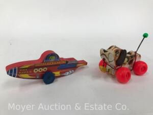 "Fisher-Price ""Little Snoopy"" original 1964 pull toy and ""Space Blazer"" push toy; no boxes"