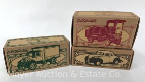 "3 Ertl ""Toy Town"" Die-cast Cars: 1940 Ford, 1931 Hawkeye and 1910 Mack, dated 1995-1996"
