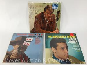3 Record Albums, Jack Jones, Frankie Laine and Glen Campbell