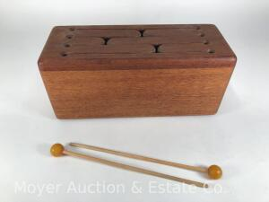 "Wooden Box Xylophone/Drum with Mallets, Made by Sol Arbor Workshop, 15"" long"