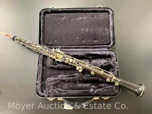 "V. Kohlert Sons OBOE #42459, wooden, made in Czechoslavakia, 23 1/2""long, with Carry Case & 10 Reeds"