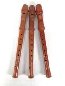 "3 Soprano Recorders: 2 Wesner Superior & a Hohner Educator, each is cherry wood, 13""long, made in Germany or West Germany"