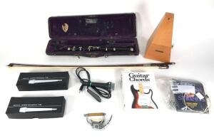 Group of Musical Instrument Accessories, Microphones, Metronome, Etc.