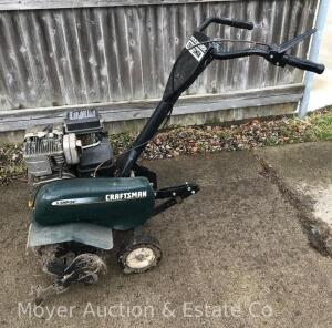 "Craftsman 5.5 HP Front-tine Rototiller, 24""wide, appears in good condition, we can't get it started, gas is old & carb likely needs cleaning"