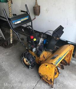 "Cub Cadet 724 WE Snow Blower, 7hp 24""cut, electric start, tire chains, starts & runs, surface rusty"