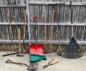 Group of Long Handled Tools incl. shovels, rakes, post-hole auger, sledge, etc.