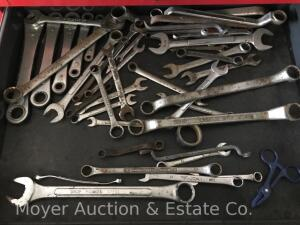 Group of Asst. Tools incl. wrenches, ratcheting wrenches, timing light, 100ft. tape measure, filter wrenches, etc.