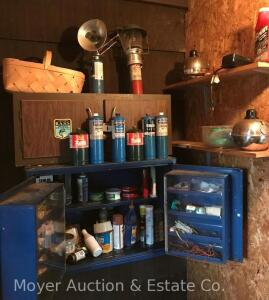 Contents of Rear Work Room incl. automotive & shop chemicals/supplies, small grill, lantern, 2 flare pots, propane burner, NAPA metal wall cabinet