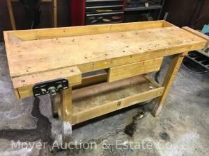 "Wood Workers Work Bench with 2vises, 58""long"