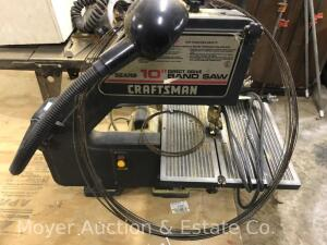 "Craftsman 10"" Bench Top Band Saw, with attached goose-neck light & extra blades, turns on & works"