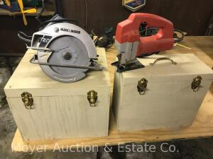 Milwaukee Jig Saw and Black and Decker Circular Saw, With Wooden Boxes