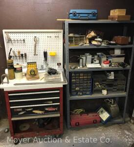 Contents of Basement Shelf and Toolbox Workstation incl. tool chest, metal shelf, hand tools, drill bits, chisels, staple gun, hardware, etc.